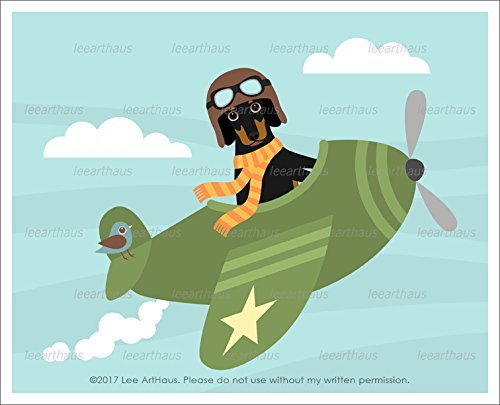 295D - Black and Tan Dachshund Dog Flying Green Airplane UNFRAMED Wall Art Print by Lee - Aviator Menu