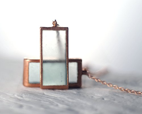 Recycled Cupcake Sauvignon Blanc Bottle Necklace - Copper Framed and Sea Glass Finish Pendant