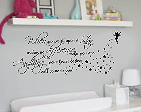 Amazoncom When You Wish Upon A Star Quote Nursery Vinyl Wall