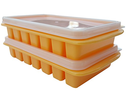 Mini Ice Trays with Lids, Shape Fits Water Bottles, Stackable Space Saving Size For Dorm Fridges & Small RV Freezers - No Spills, No Odors by Polar Vortex (Orange)