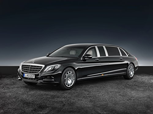 Mercedes-Benz Maybach Pullman S 600 Guard (2016) Car Print on 10 Mil Archival Satin Paper Black Front Side Static View - Maybach Guard