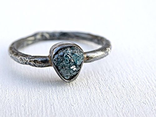 raw diamond ring rustic, unique engagement ring molten, rough diamond twig ring black silver, blue diamond ring, diamond promise ring silver +choose your gemstone+