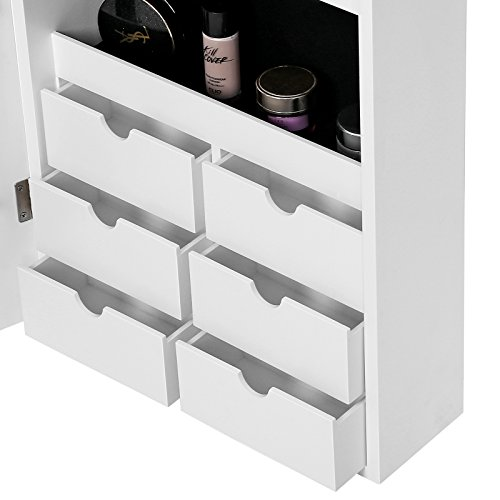 SONGMICS LED Jewelry Cabinet Armoire with 6 Drawers Lockable Door/Wall Mounted Jewelry Organizer White Patented Mother's Day Gift UJJC88W by SONGMICS (Image #7)