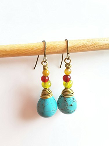 CHIC : LONG DROP TURQUOISE EARRING AND HANDMADE GLASS BEADS.