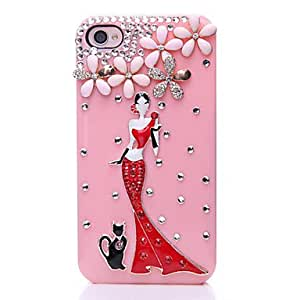 GHK - Five-leaved Clover Beauty Pattern Metal Jewelry Back Case for iPhone 4/4S