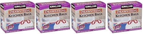 Kirkland Signature Drawstring DcMWYh Kitchen Trash Bags - 13 Gallon, 4Pack (200 Count)