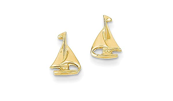 8d6a8bf8c Amazon.com: Lex & Lu 14k Yellow Gold Sail Boat Earrings-Prime: Jewelry