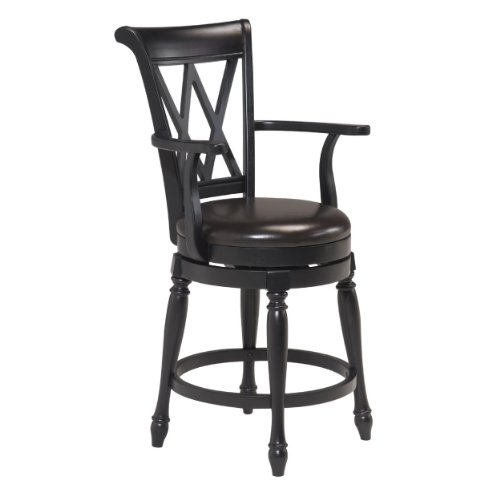 Home Styles 5008 88 Traditions Swivel Bar Stool Black Finish 24