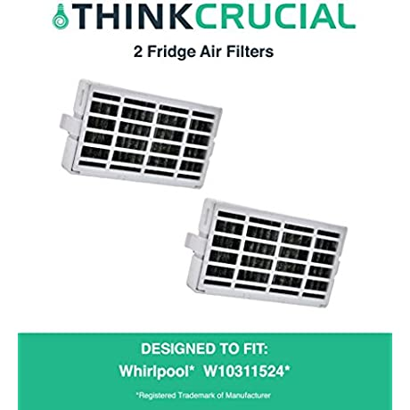 2 Pack Refrigerator Air Filters Fits Whirlpool Air1 Fresh Flow Compare To Part W10311524 2319308 W10335147 Designed Engineered By Crucial Air