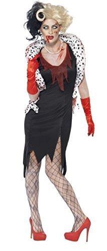 Mujer Zombie Cruella De Vil Halloween Evil Madame perro Lady 101 ...