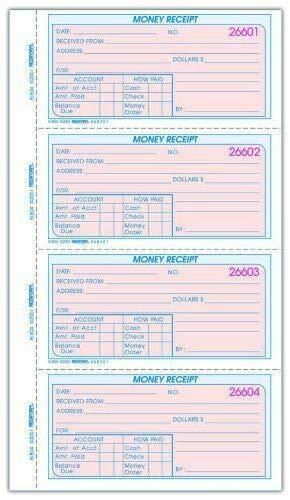 Rediform Money Receipt Book 200 Sheet s Wire Bound 8l804 2 Part -