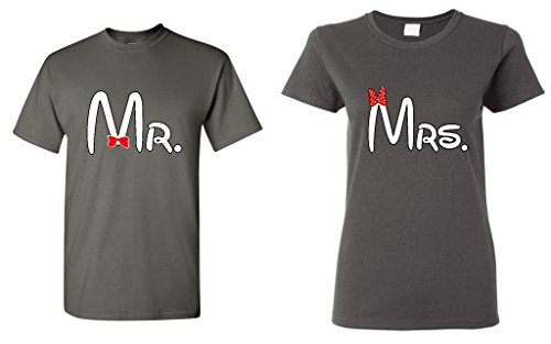Par Matching Cartoon fuente Sr. – La Señora T-Shirt Men 3xl - Women Small,charcoal - Charcoal