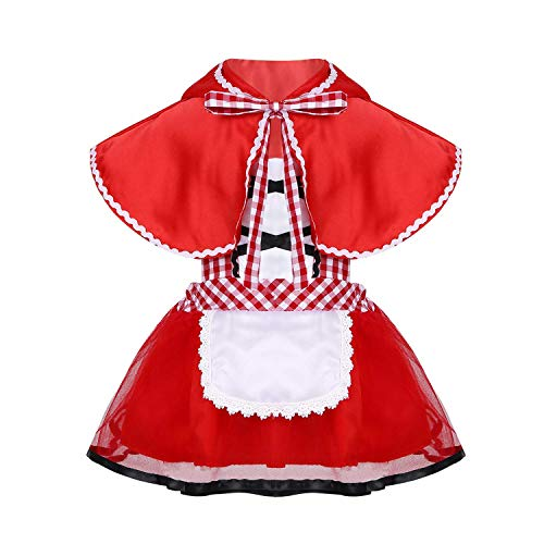 INHoney Little Red Ridding Hood Costume for Baby Newborn Infant Toddler Girls (18-24 Months, Red)