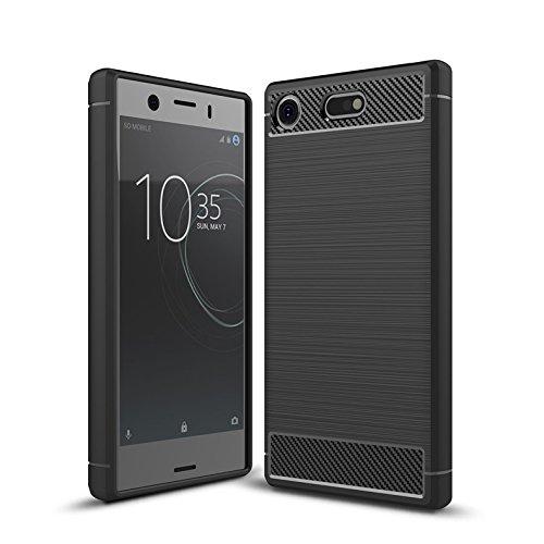 Sony Xperia XZ1 Compact Case, Cruzerlite Carbon Fiber Shock Absorption Slim case for Sony Xperia XZ1 Compact (2017) (Black)