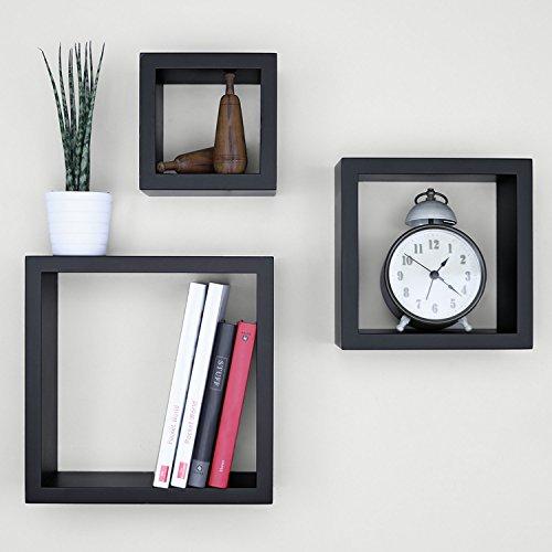 Ballucci Square Cube Floating Wall Shelf, Set of 3, Black