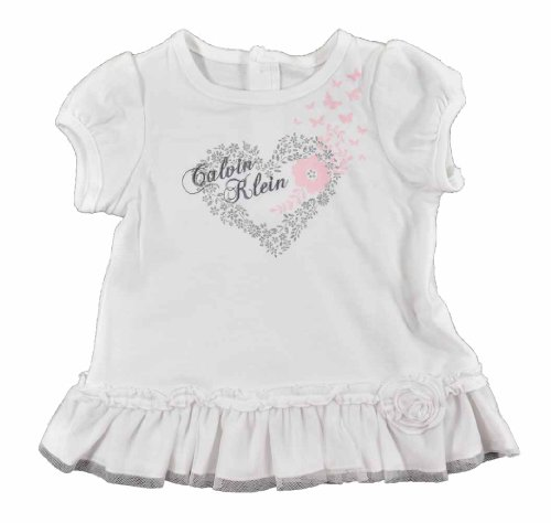 Calvin Klein Baby-Girls Newborn Tunic with Leggings, White, 6-9 Months