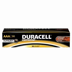 Duracell Professional MN24P36 Coppertop AAA Battery, 1.6 - 0.75V Operating Voltage (Pack of 36)