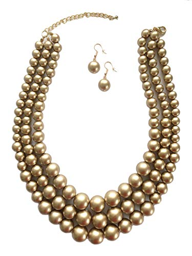Acrylic Pearl Necklace (Secret for Longevity Multi Strand Resin Acrylic Brown Tan Gold Bronze Faux Pearl Tahitian Big Chunky Statement Necklace Earring Set)