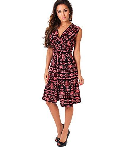 KRISP Vestido Corto Mujer Vuelo Casual Tallas Grandes Joven Elegante Otoño Coral/Negro (6607)