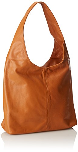 main en cuir fermeture éclair sac à 100 in à femme dans sac Orange bandoulière Cuoio véritable Italy la 41x55x12cm Made CTM vwO7qY0