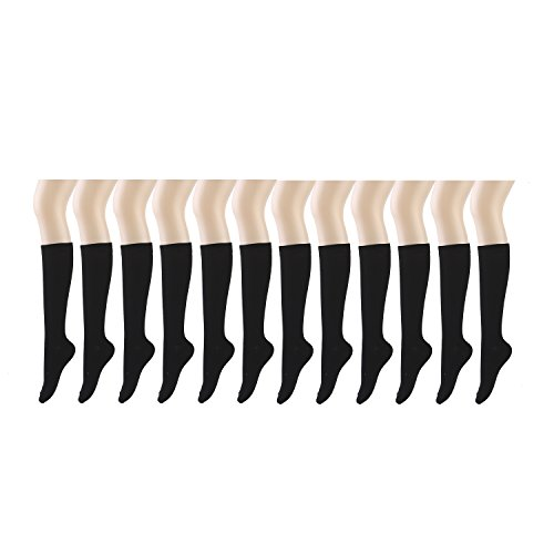 (12 Pairs Women Knee High Socks -196002,Black,Sock Size 9-11 / Fit Shoe Size 4-10)