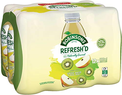 Robinsons Refresh'd – Flavoured Spring Water – Real Fruit, No Added Sugar – Apple & Kiwi – Pack of 12 x 500 ml bottles