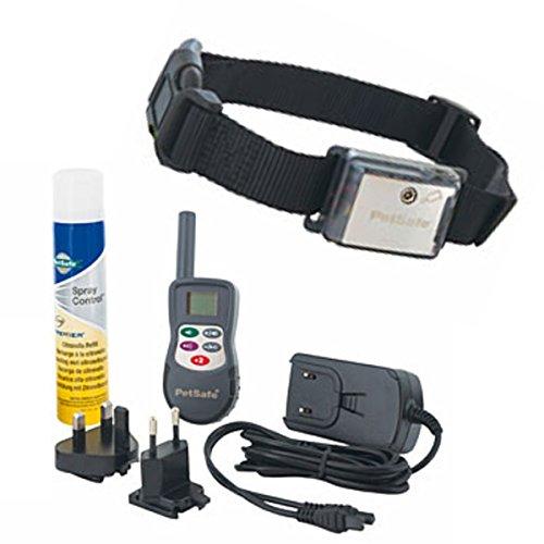 AntiBell Hundehalsband Spray-Ton-Signal-Halsband Hunde-Erziehung gegen Bellen bis 300m Sprayhalsband + Zubehör
