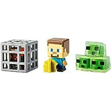 Minecraft Mini Figure 3-Pack, Farming Steve, Spawning Spider & Slime Cubes