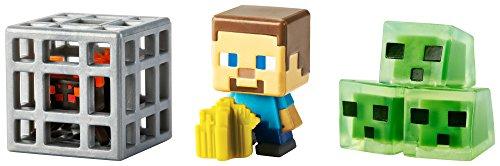 Minecraft Mini Figure 3-Pack, Farming Steve, Spawning Spider & Slime -