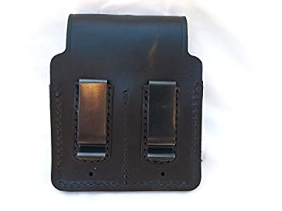 J&j Premium Leather 9mm Double Stack Double Magazine Closed Top Mag Holder Black Holster