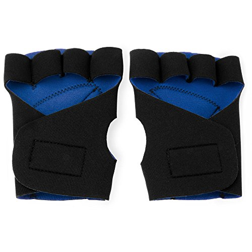 Half Finger Padded Cycling Gloves, Non-slip & Shock Absorbing, Road Bike, Bicycle, & Motorcycle Accessories by Crown Sporting Goods (Blue)