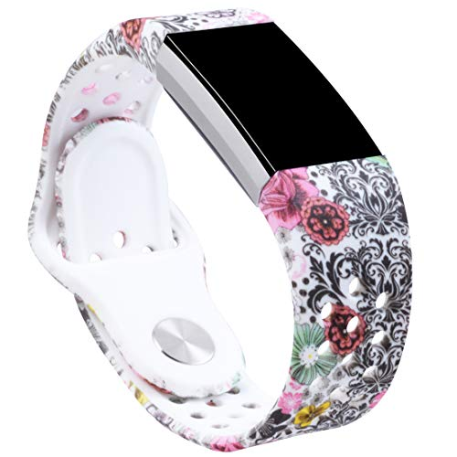 Allbingo Cute Bands Compatible Fitbit Charge 2, Breathable Floral Strap Women Men Replacement Sport Wrist Band Small Large with Air Holes (Colorful World, Large)