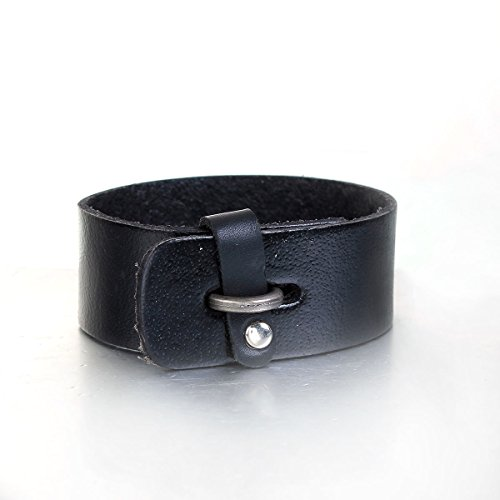 Sexy Leather Wrist Cuffs (Mens Genuine Real Leather Wrist Bracelet Wide Casual Wristband Cuff Bangle)