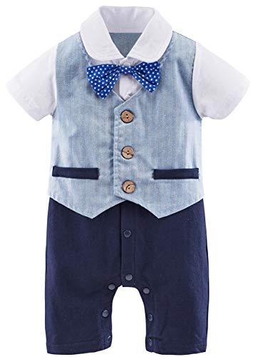 A&J Design Baby Boys' Gentleman Tuxedo Rompers with Bowtie (12-18 Months, Light Blue) by A&J Design