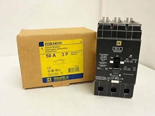 New Square D EDB34050 Circuit Breaker 3 pole 50 amp 480 volt