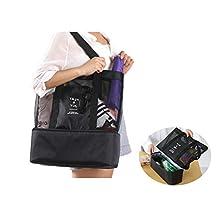 Picnic Bag - 2 in 1 Mesh Beach Tote Bag with Food Cooler (Black)