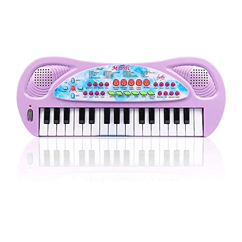 AIMEDYOU Kids Piano Keyboard 32 Key – Portable Electronic Musical Instrument Multi-Function Keyboard Teaching Toys Birthday Christmas Day Gifts for Kids (Purple)