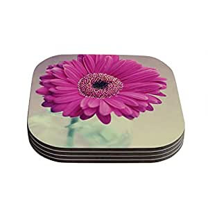 "Kess InHouse Nastasia Cook ""Pretty Daisy"" Pink Flower Coasters, 4 by 4-Inch, Pink/Teal, Set of 4"
