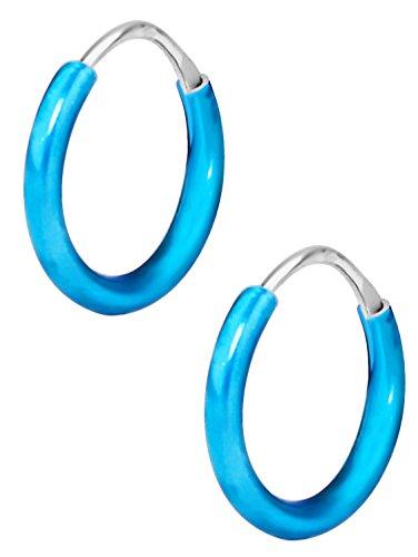 Hypoallergenic Sterling Silver Tiny Blue Hoop Earrings for Kids (Nickel Free)