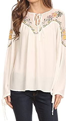 Sakkas HRF20 - Enya Long Sleeve Adjustable Bell Sleeve Batik Blouse Top Shirt - White - 3X (Sakkas 3x)