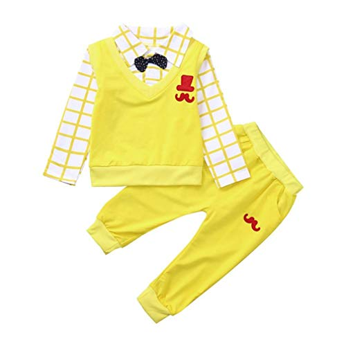 Dream_mimi Toddler Baby Boy Long Sleeve Bow Hat Beard Embroidery Long Sleeve Fake Two Piece Sweater Pants Set (80, Yellow)
