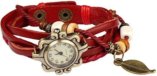 Women Handmade Watches Weave Wrap Leather Bracelet Wristwatch White - 8