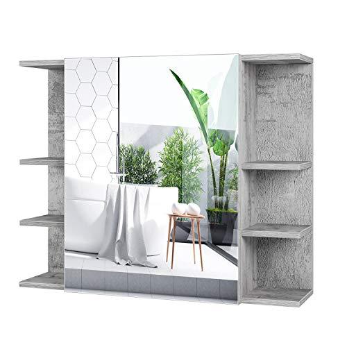 Homfa Armario Bano con Espejo Armario de Pared Armario Cocina Colgante con 1 Puerta 8 Compartimentos Gris 80x19x80cm