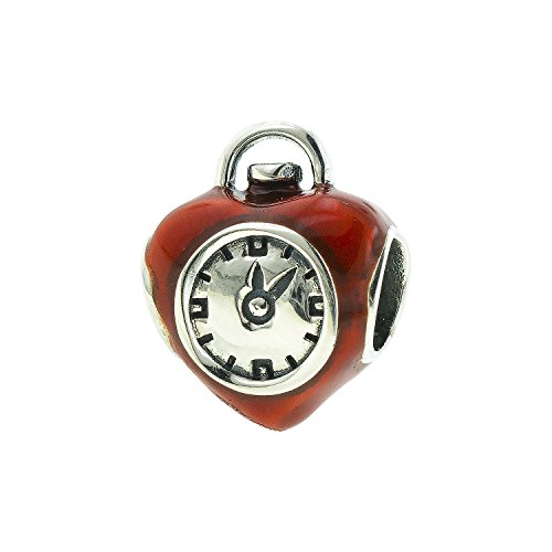 The Wizard Of Oz Heart Clock (Sterling Silver Wizard of Oz Enamel Red Heart Clock Bead Charm)
