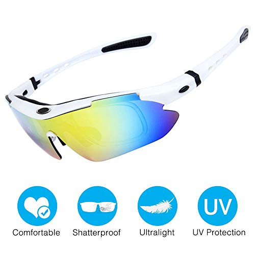 Amabest Cycling Glasses with 3 Interchangeable Lenses - Fashion White Sports Sunglasses Driving Glasses Safety Glasses for Mens Kids Women UV400 Protection Polarized Lens Motorcycle Bike
