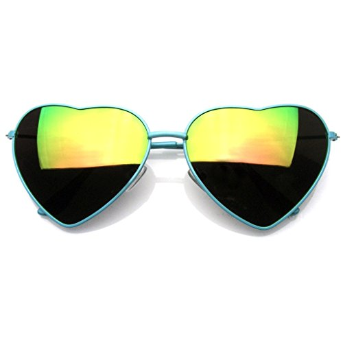 Womens Metal Heart Frame Mirror Lens Cupid Heart shape Sunglasses (Green, 58)
