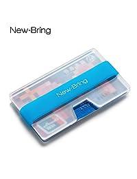 newbring minimalista titular de la tarjeta de crédito–Bolsillo Frontal Ultralight acrílico Slim Wallet Money Clip, Azul
