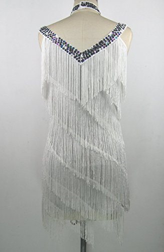 Frange Houppe Whitewed Perles Années 1920 Cou V Grands Costumes Flapper Gatsby Robes Blanches