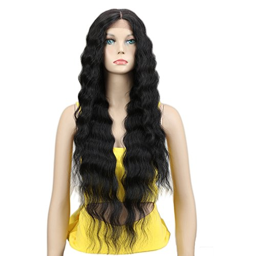Joedir Lace Front Wigs 30'' Long Wavy Synthetic Wigs For Black Women 130% Density Wigs(BLACK COLOR)]()