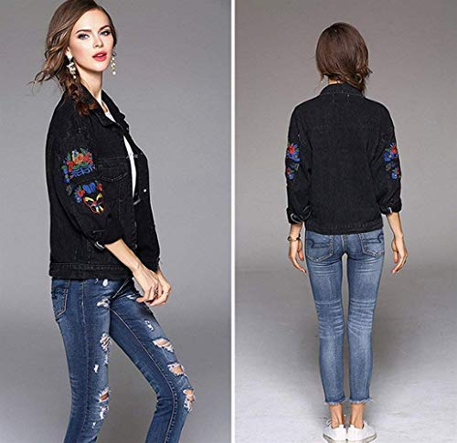 Jacket Mode Lunghe Stile Primaverile Tempo Schwarz Giubotto Streetwear Ricamate Giacca Donna Giacche Di Bolawoo Autunno Elegante Bavero Maniche Marca Relaxed Libero Vintage Jeans c4KpB6y